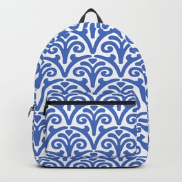 Floral Scallop Pattern Blue Backpack