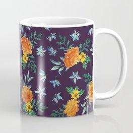 Dark Floral: Marigolds and Borage Coffee Mug