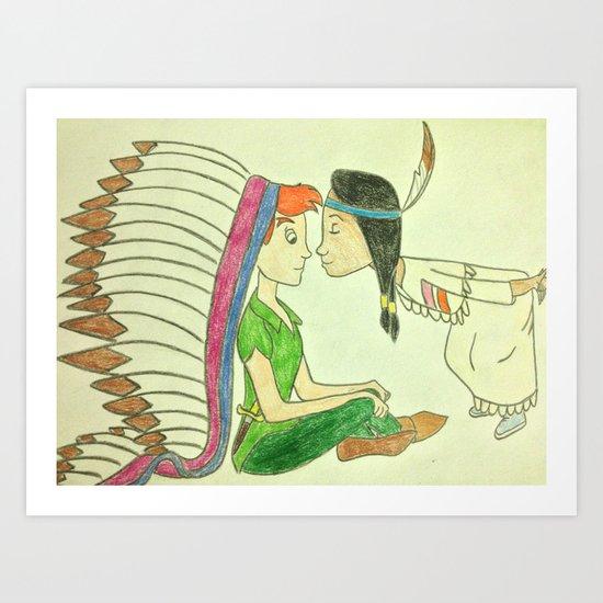 Peter Pan and Tiger Lily Art Print