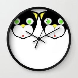 Double Cat Head Wall Clock