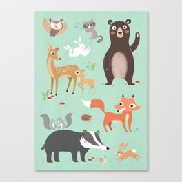 Nursery Woodland Animals POSTER Canvas Print