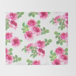 Raspberry Pink Painted Roses on White Throw Blanket