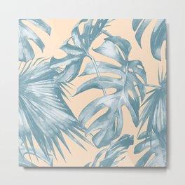 Tropical Leaves Ocean Blue on Citrus Metal Print