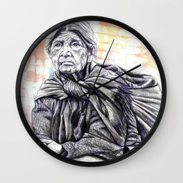 Old Lady Sitting Wall Clock