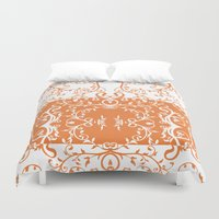 tote bag Duvet Covers featuring Orange and white swirl flourish summer Tote Bag by Moonlake Designs