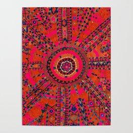 Pink Wildflower Sunshine I // 18th Century Colorful Pinkish Red Blue Sapphire Metallic Happy Pattern Poster