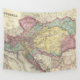 Vintage Map of Austria (1856) Wall Tapestry