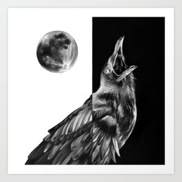 Crow and Full Moon Art Print
