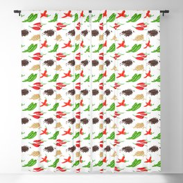 Watercolor Illustration of chili and pepper Blackout Curtain