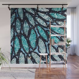 Vibrant Blue and Aqua Beaded Sequin Feather Design Wall Mural