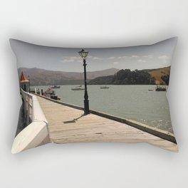 akaroa walkway into lake in french town in new zealand Rectangular Pillow