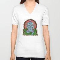 ganesh V-neck T-shirts featuring peace ganesh by Peter Patrick Barreda