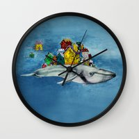 the whale Wall Clocks featuring whale by Кaterina Кalinich