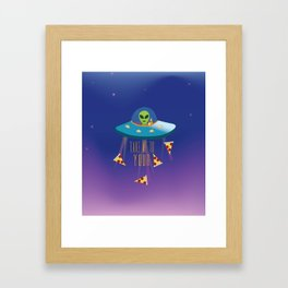 """""""Take me to your Pizza"""" Alien in UFO Framed Art Print"""