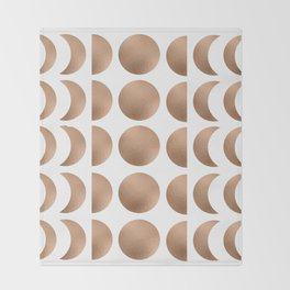 Rose Gold Moon Phase Pattern Throw Blanket
