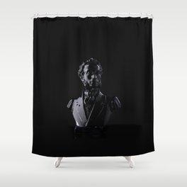 Black sculpture of man over black background. Pushkin, russian writer Shower Curtain