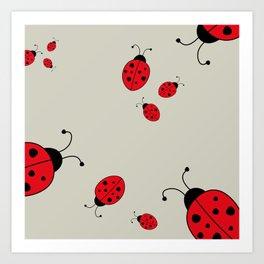 Ladybugs-Beige+Red Art Print