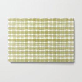 Watercolor Brushstroke Plaid Pattern Pantone Golden Lime Green 16-0543 Metal Print
