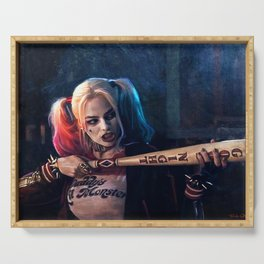 Harley Quinn - The Clown Princess Of Gotham With Her Goodnight Bat Serving Tray