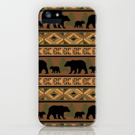 Black Bear and Cub iPhone Case