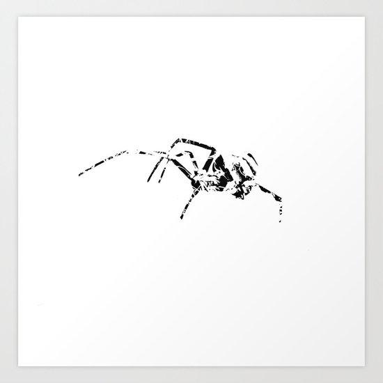 Black Widow Scribble Art Print