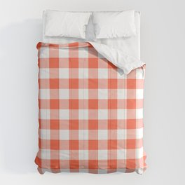 Jumbo Living Coral Color of the Year Orange and White Buffalo Check Plaid Comforters