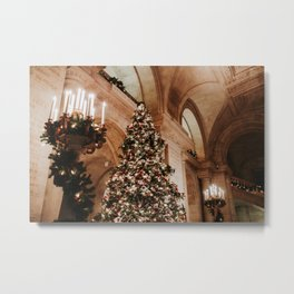 Christmas in New York; The Public Library | Colourful Travel Photography | New York City, America (USA) Metal Print