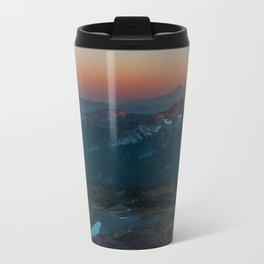 Mount Hood sunset from Mount Rainier Metal Travel Mug