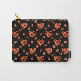 Orange with black splotches hearts and cat's paw prints . Carry-All Pouch
