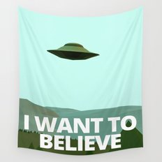 I want to believe low-poly ufo Wall Tapestry