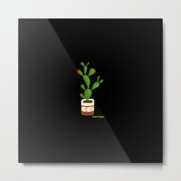 Flowering Cactus on Black Background Metal Print