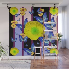 BLUE BUTTERFLY &  LEMON YELLOW FLOWER FLORAL CAGE Wall Mural