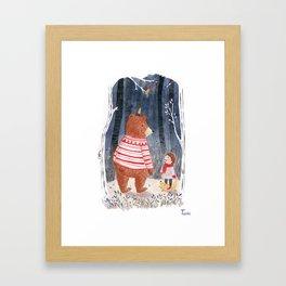 Boy meets Bear Framed Art Print