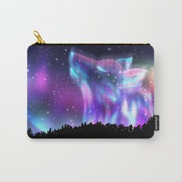 Northern landscape with howling wolf spirit and aurora borealis Carry-All Pouch