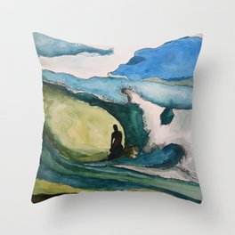 Watercolor Surfer Throw Pillow