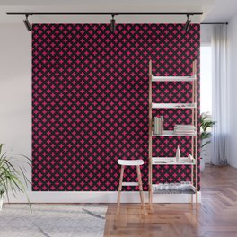 Small Hot Neon Pink Crosses on Black Wall Mural