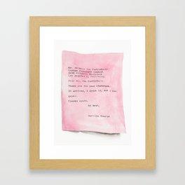 Pink Letter From Marilyn Framed Art Print