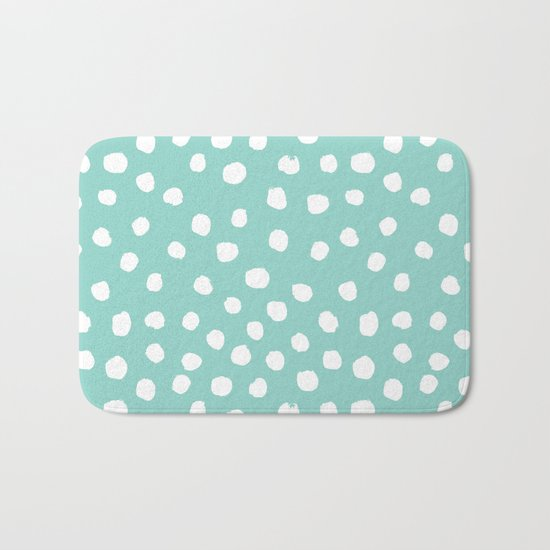 Minty mini painted dots polka dots mint pastel dotty trendy gender neutral must have dorm college  Bath Mat
