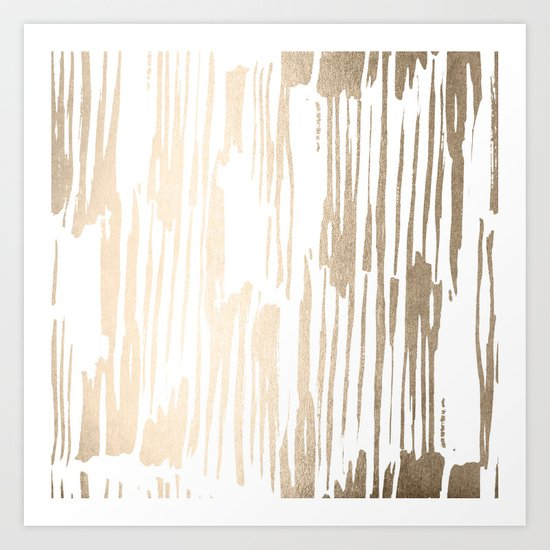 White Gold Sands Thin Bamboo Stripes Art Print