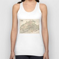 switzerland Tank Tops featuring Vintage Switzerland Map by BaconFactory