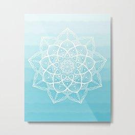 Blue white mandala Metal Print
