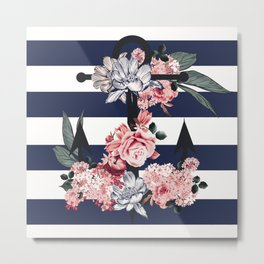 Nautical Vintage Anchor, Flowers and Stripes Metal Print