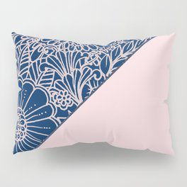 Blush pink navy blue hand drawn modern floral Pillow Sham