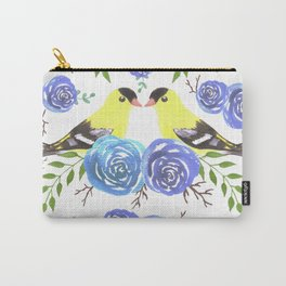 American goldfinch or Spinus tristis bird and roses Carry-All Pouch