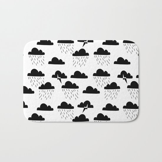 Clouds linocut black and white printmaking pattern black and white Bath Mat