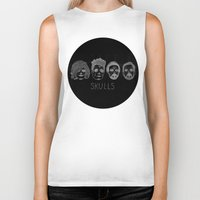 bastille Biker Tanks featuring Bastille Skulls by wellsi
