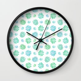 Trendy modern turquoise teal cute cactus pattern Wall Clock