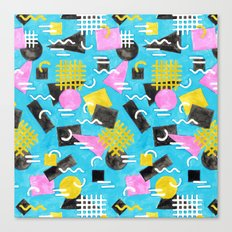 Watercolour Geometric Memphis - Blue Canvas Print