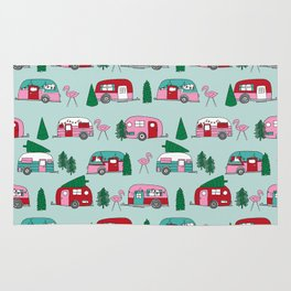 Camper vacation christmas road trip tropical home away from home pattern Rug
