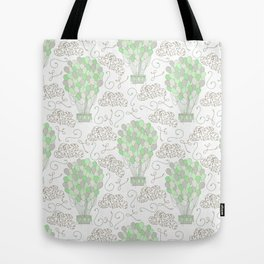 Vintage hot air balloons line drawing pastel green Tote Bag